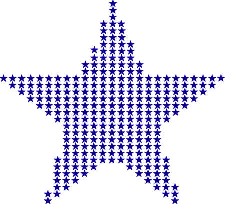 symbolics: big dark blue symbolic star made of small blue stars the same color and size on the white background