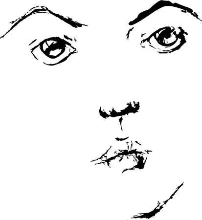 eyebrows: beautiful face of young female with black eyes and eyebrows on the white background