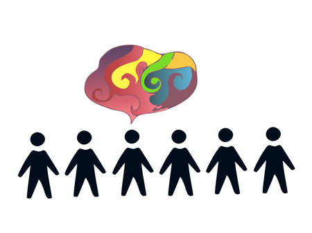 creative human person thinking a new idea from overs Illustration
