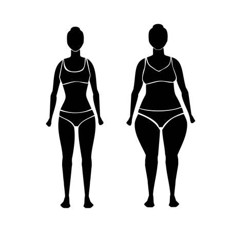 Silhouette of fat and slim woman body