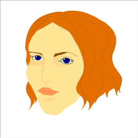 yong: portrait of yong woman with short wavy hair and blue eyes on the white background