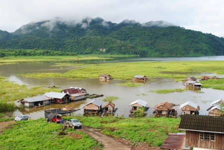 house float on water: raft-house in kanchanaburi Thailand  Editorial