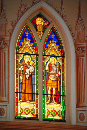 Stained glass in church Kanchanaburi Thailand photo