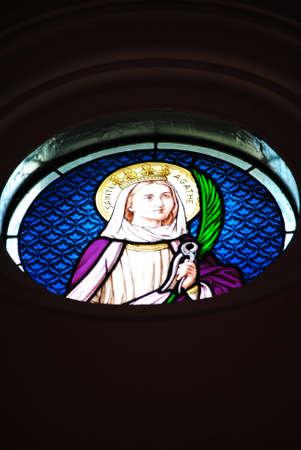 Stained glass in church Kanchanaburi Thailand Stock Photo - 13714678