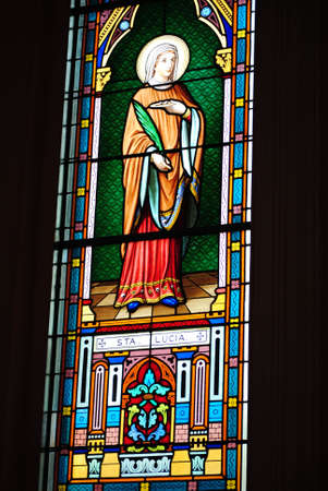 Stained glass in church Kanchanaburi Thailand