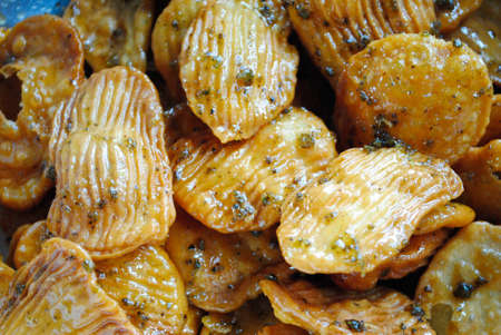 crisps: caramelized crisps Stock Photo
