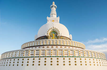 the stupa:  Shanti Stupa Stock Photo