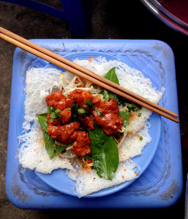 vietnamese food: grilled pork with noodle Vietnamese food Stock Photo