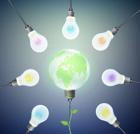 Eco energy concept, group of bulbs and green globe Earth inside
