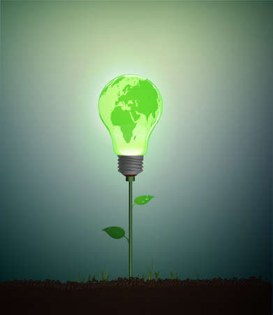 Green bulb with Earth globe pattern growing on soil, Eco electricity idea, green energy concept Ilustração