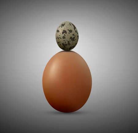 Chicken and quail eggs isolated