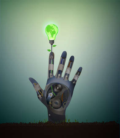 Bio energy idea, help for the green energy concept, eco robot concept, support the green energy idea, green bulb with leaves grows from metal robot hand on soil Illustration