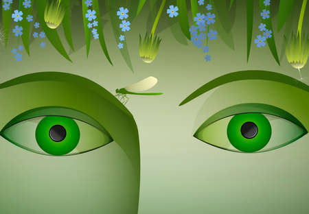close uo: eyes of summer, green woman eyes surrounded with green grass dandelion, flowers forget me not and butterfly and dragonfly, under the flowers, vector