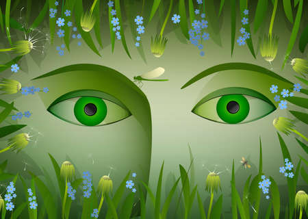 branch to grow up: eyes of summer, green woman eyes surrounded with green grass, dandelion, flowers forget me not and butterfly and dragonfly, under the flowers, spirit of summer, vector Illustration