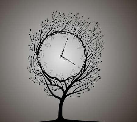 lock tree, black and white,