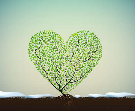 A heart shaped tree vector illustration