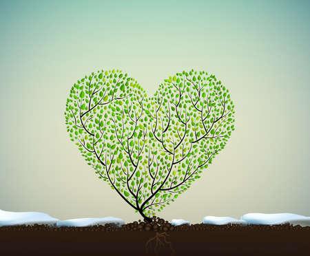 Een hartvormige boom vectorillustratie