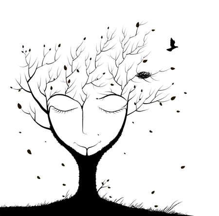 árbol para dormir, espíritu del bosque, cara de árbol para dormir en otoño, vuelo de pájaro y dos sentados en la rama, sueño de invierno en bosque, blanco y negro, sombras Ilustración de vector