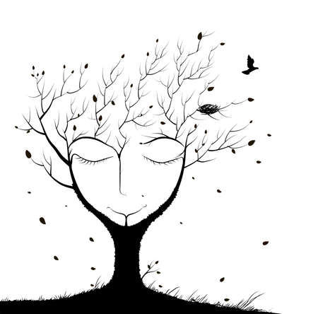 sleeping tree, spirit of the forest, face of sleeping tree in autumn, bird flying and two sitting on the branch, winter dream in forest, black and white, shadows Stock Illustratie