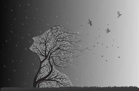 boomgezicht voor storm