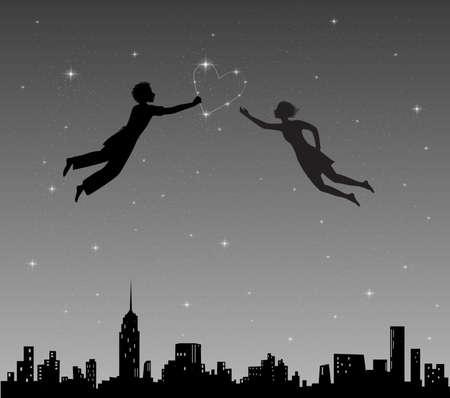 boy and girl flying in night sky Çizim