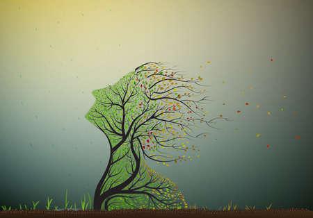 drzewo ciągnące jego twarz do ostatniego letniego słońca, ale jesienią nadchodzi i liście zaczynają padać, drzewo dusza, roślin surrealistyczne ikony,