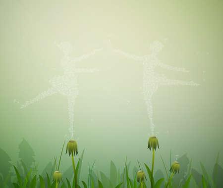 plant stand: summer ballet of dandelions, Illustration