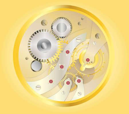 golden watch inside, clock mechanism on yellow or golden background