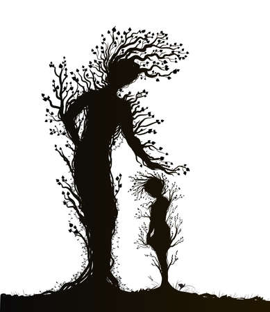 two tree silhouettes look like woman and kid or mother and child, plant surrealism, fairy tree silhouettes, big and small tree soul on white background, vector.