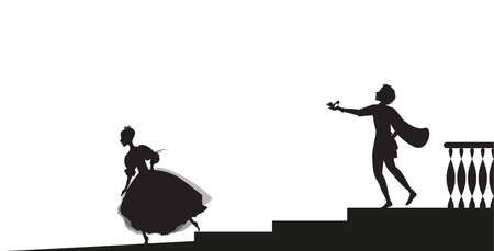 Cinderella runs out from ball and looses her shoe, and prince hails her and gives her shoes, shadows, fairytale