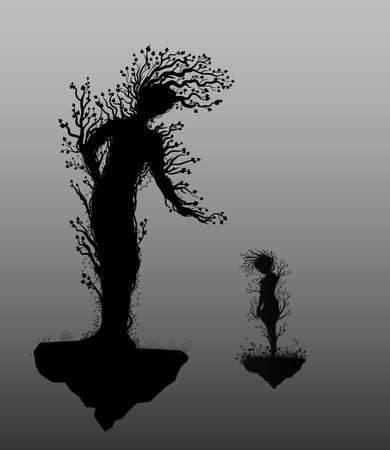 두 나무 실루엣 여자와 아이 또는 어머니와 자식처럼 보이는 초현실주의, 요정 나무 실루엣, 흰색 배경에 크고 작은 나무 영혼, 벡터.