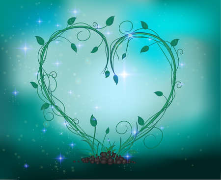 Fairy sprout in the heart composition with sparkle and light.