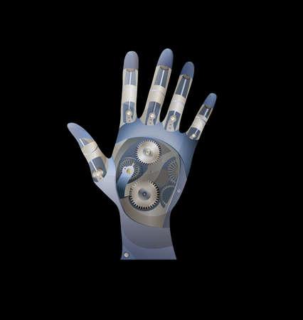 Cyborg metallic hand. Illustration