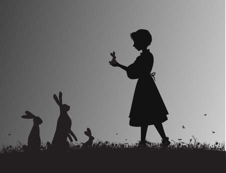 girl holding small hare or rabbit hare on the flowering meadow black and white, silhouette animal family, shadows, Alice s friends