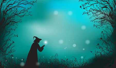 Deep fairy forest silhouette and witch with magic wand, halloween fairy. Vettoriali