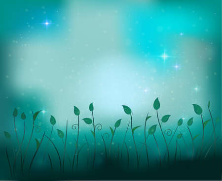 fairy plant glade silhouette at night