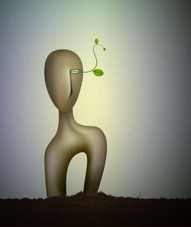 Inside the nature soul, surrealism sculpture