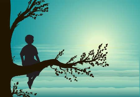 boy sitting on big tree branch, silhouette, secret place, childhood memory, dream, vector