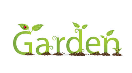 green eco friendly text Garden decorated with leaves and bugs and curl on the white backgroung, vector Illustration