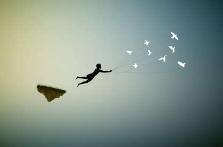 boy is flying away and holding pigeons, fly in the dream land,fly away, shadows, life on flying rock, silhouette. Ilustracja