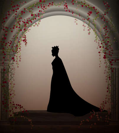 plant stand: queen in the castle window entwined with red roses liana, lonely princess in castle, vector, secret place