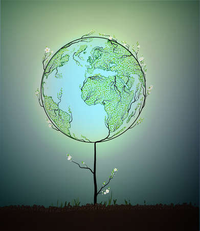beginnings: Earth planet map created from the leaves and looks like spring tree growing on soil, green planet eco concept, vector Illustration