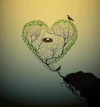 family gardening: Heart shaped tree with bird and nest.