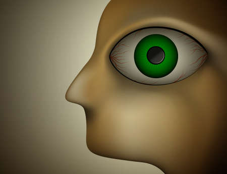 horror eye, torment by insomnia, sleepless night concept, men profile with big tired eyes, vector Illustration