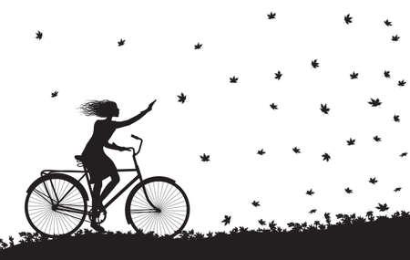 Meisje die op de fiets en de herfstbladeren het vallen berijden.