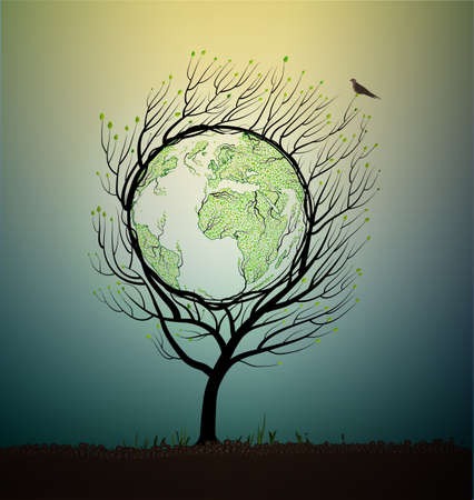 Green planet Eco concept Ilustrace