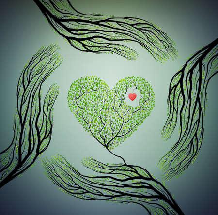 木の枝と木心を押し、自然概念を愛し、ツリーのアイデアを保護、ベクトルのように見える人間の手