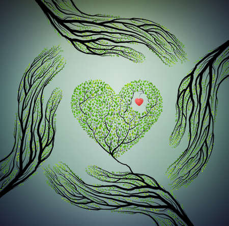 Human hands look like tree branches and hold tree heart, love nature concept, protect tree idea, vector