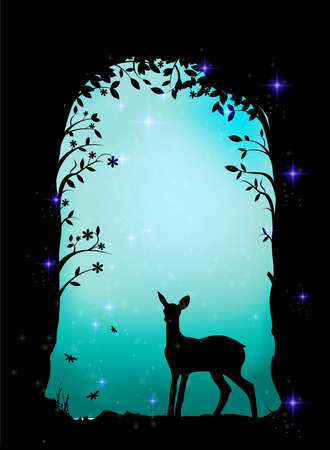 deer, fawn in the forest, fairy cave shadows Illustration