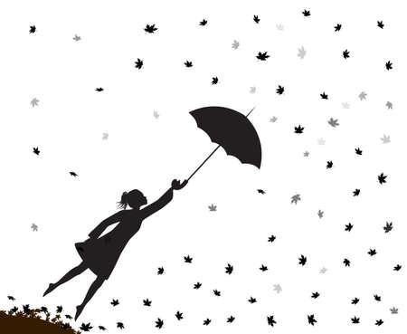 Young girl flying away Illustration